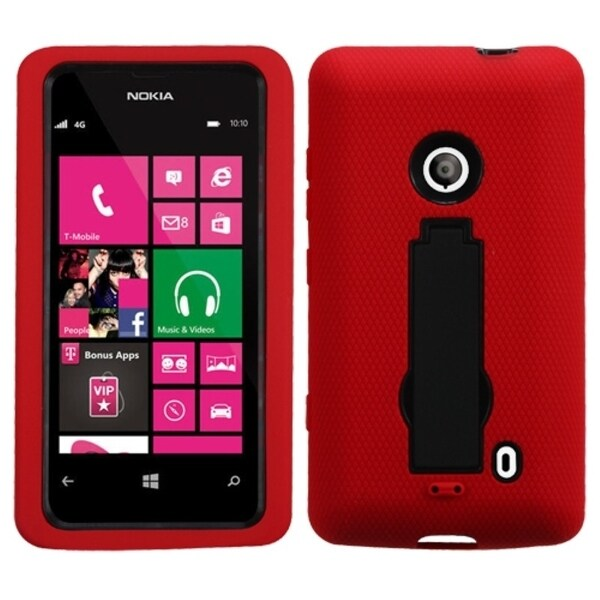INSTEN Black/ Red Symbiosis Phone Case Cover with Stand for Nokia Lumia 521