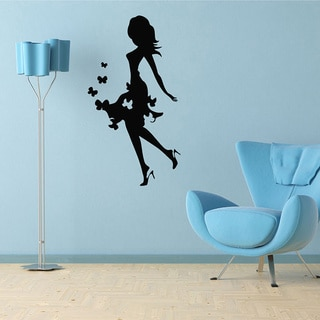 Girl in Dress with Butterfly Vinyl Wall Decal