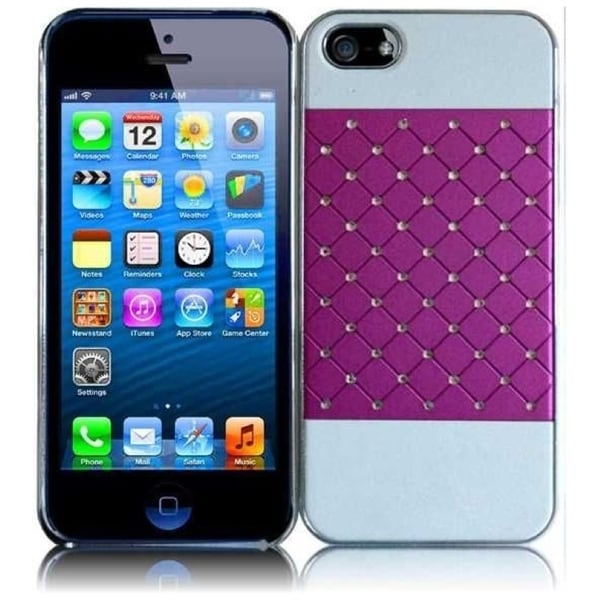 INSTEN Purple/ White Lattice Rubberized Hard Plastic Snap-on Phone Case Cover with Diamond for Apple iPhone 5/ 5S