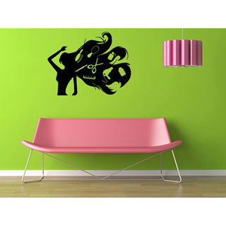 Girl with Scissors and Comb & Hairdryer Vinyl Wall Decal