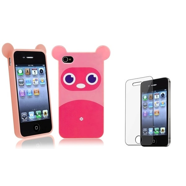 BasAcc Pink Raccoon TPU Case/ Screen Protector for Apple iPhone 4/ 4S