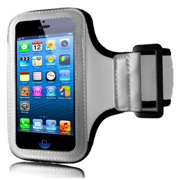 INSTEN Premium White Sports Fitness Armband Phone Phone Case Cover for Apple iPhone 5/ 5S