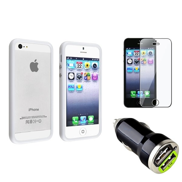 INSTEN White Phone Case Cover/ LCD Protector/ Car Charger for Apple iPhone 5/ 5S
