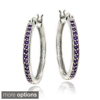 Glitzy Rocks Sterling Silver and Gemstone Hoop Earrings