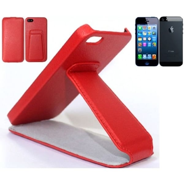 INSTEN Red Stand Litchi Leather Phone Case Cover for Apple iPhone 5/ 5S