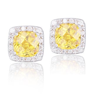 Icz Stonez Sterling Silver Yellow Cubic Zirconia Square Halo Stud Earrings