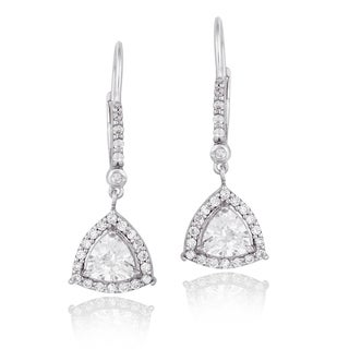 Icz Stonez Sterling Silver Cubic Zirconia Trillion Dangle Leverback Earrings