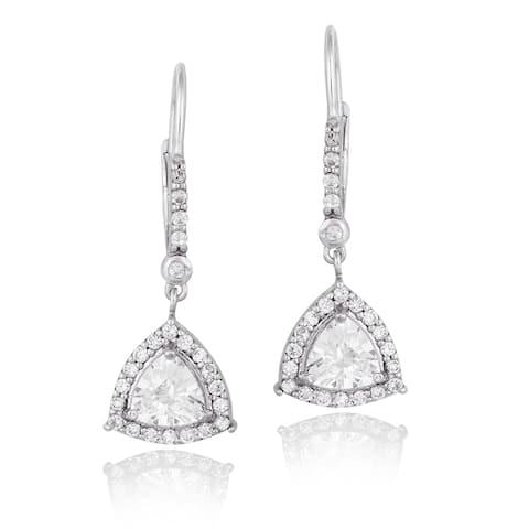 Icz Stonez Sterling Silver Cubic Zirconia Trillion Dangle Leverback Earrings