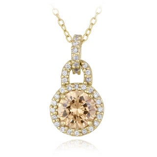 Icz Stonez Gold over Silver Champagne Cubic Zirconia Circle Necklace