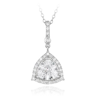 Icz Stonez Sterling Silver Cubic Zirconia Trillion Necklace