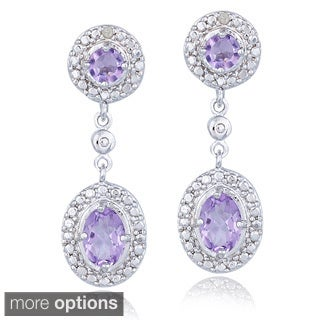 Glitzy Rocks Gemstone And Diamond Accent Dangle Earrings (I-J, I2-I3)