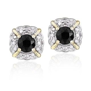 Glitzy Rocks Goldtone Sapphire And Diamond Accent Square Solitaire Earrings (I-J, I2-I3)