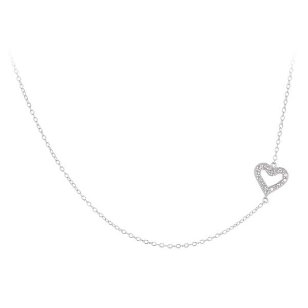 DB Designs Diamond Accent East-West Sideways Heart Necklace