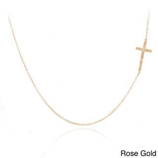 DB Designs Diamond Accent East-West Sideways Cross Necklace