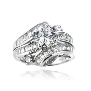 Icz Stones Sterling Silver and Cubic Zirconia Bridal Engagement Ring (5 options available)