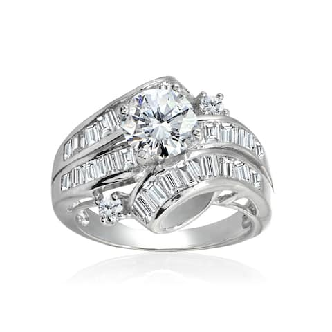 Icz Stones Sterling Silver Polished Round Cubic Zirconia Bridal Engagement Ring