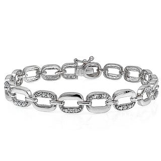 DB Designs Silvertone Diamond Accent Rectangle Link Bracelet (I-J, I2-I3)