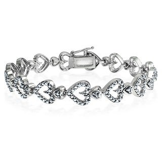 DB Design Silvertone Diamond Accent Link Heart Bracelet (I-J, I2-I3)