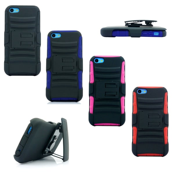 Gearonic Rugged Hybrid Hard Case Cover Belt Clip for Apple iPhone 5C