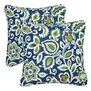 Floral Navy Corded Indoor/ Outdoor Square Pillows (Set of 2)