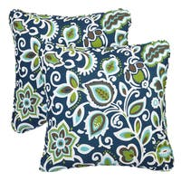 Copper Grove Sonian Floral Navy Corded Indoor/ Outdoor Square Pillows (Set of 2)