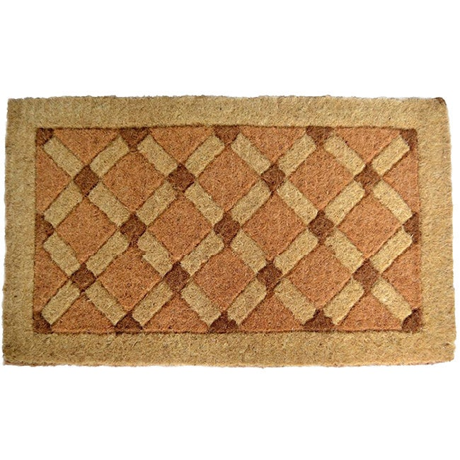Imports Decor Cross Board Coir Door Mat, Brown