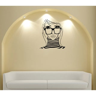 Girl with Glasses Vinyl Wall Decal