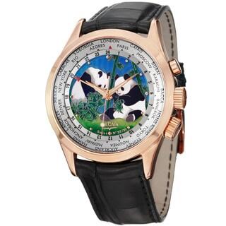 Vulcain Men's 100508.189L 'Aviator' The Pandas Dial Rose Gold Black Strap Watch
