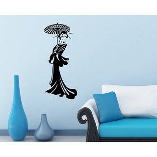 Geisha with Umbrella Vinyl Wall Decal