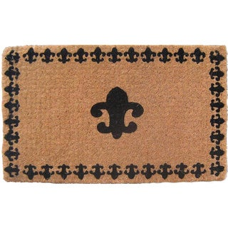 Handmade Fleur de Lis with Border Natural Coir Doormat (1'6 x 2'6)