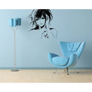 Manga Girl Vinyl Wall Decal - Black