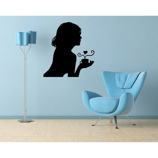 Girl with Coffee Tea Cup Vinyl Wall Decal