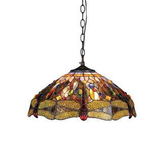 Chloe Tiffany Style Dragonfly Design 3-light Dark Antique Bronze Pendant