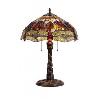 Tiffany Style Dragonfly Design 2-light Dark Antique Bronze Table Lamp