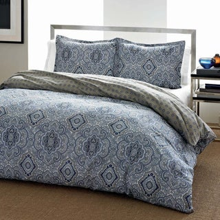 City Scene Milan Blue Cotton Reversible 3-piece Comforter Set
