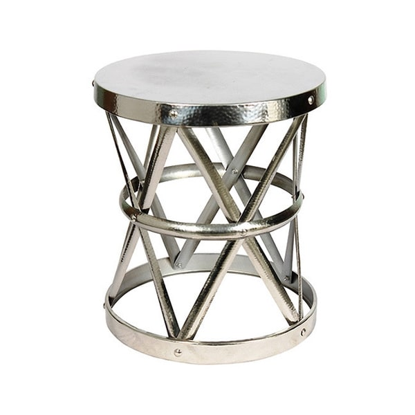 Hammered Metal Coffee Table Hammered Nickel Drum Large Stool/ End Table - Free Shipping Today ...