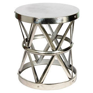 Hammered Nickel Drum Large Stool/ End Table