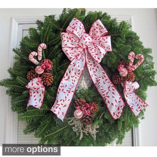 Fresh Balsam Maine 24-inch Candy Cane Ribbon Wreath