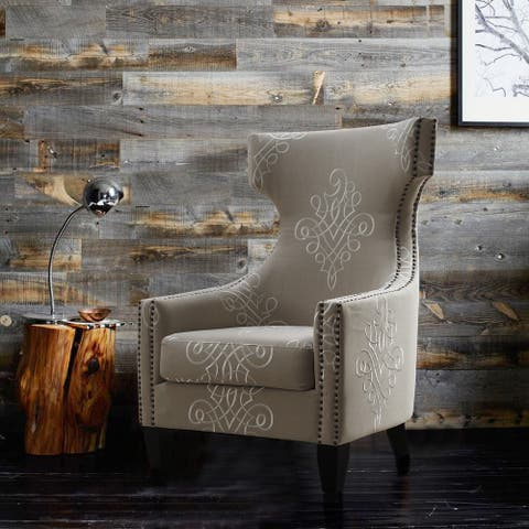 Gramercy Embroidered Linen Wing Chair