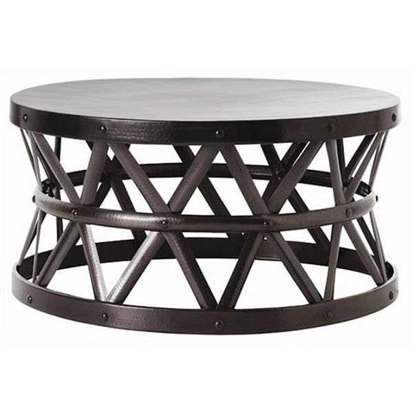 Hammered Drum Cross Dark Bronze Coffee Table Free