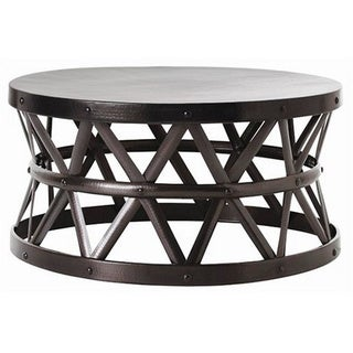 Round glass top metal coffee table 14037744 overstock com shopping