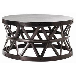 Hammered Drum Cross Dark Bronze Coffee Table