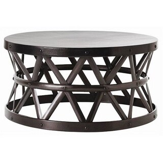 Lovely Hammered Drum Cross Dark Bronze Coffee Table