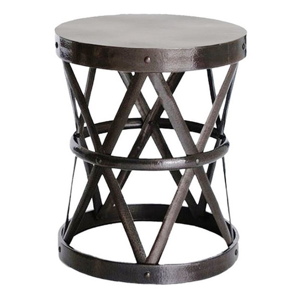 Pinebrook Coffee Table Hammered Drum Cross Dark Bronze Large Table/Stool - Free Shipping ...