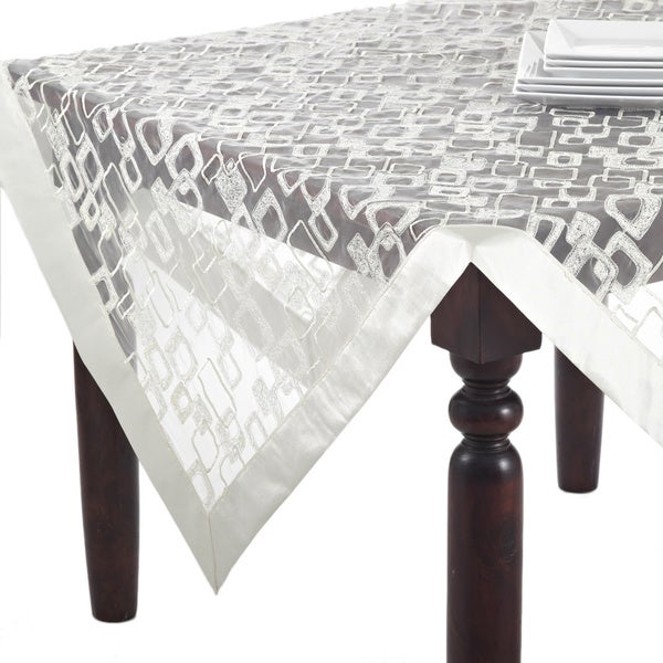 Embroidered Geometric Square Design Sheer Tablecloth Topper