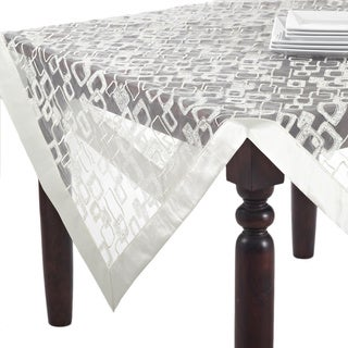 Polyester 84-inch Embroidered Geometric Design Tablecloth