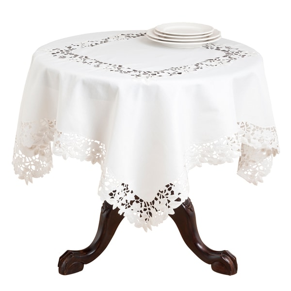 Merveilleux Polyester 80 Inch Embroidered And Cutwork Leaf Tablecloth