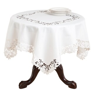 Polyester 80 Inch Embroidered And Cutwork Leaf Tablecloth