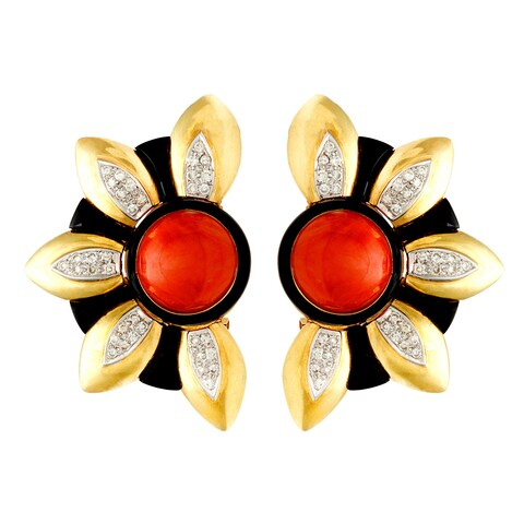Pre-owned 18k Yellow Gold Coral, Onyx and 1ct TDW Giant Sunflower Earrings (H-I, SI1-SI2)