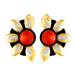 Pre-owned 18k Yellow Gold Coral, Onyx and 1ct TDW Giant Sunflower Earrings (H-I, SI1-SI2)|https://ak1.ostkcdn.com/images/products/8547491/18k-Yellow-Gold-Coral-Onyx-and-1ct-TDW-Giant-Sunflower-Earrings-H-I-SI1-SI2-P15826189.jpg?impolicy=medium